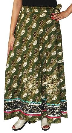 b129cb0ec Maple Clothing Designer Indian Wrap Skirt Long Cotton Maxi Printed India  Clothes (Green): Amazon.co.uk: Clothing