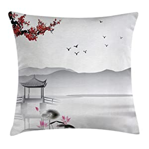 Ambesonne Asian Throw Pillow Cushion Cover, Japanese Asian Style Garden Bird and Small Pavilion Over the Lake Lotus Waterlily, Decorative Square Accent Pillow Case, 18 X 18 Inches, Grey Pink Red
