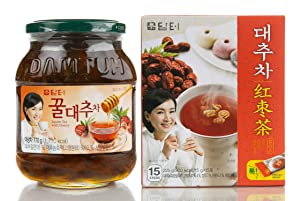 Damtuh Korean Honey Jujube Tea 27.16 Oz (770g) + Jujube Tea Plus 15 Sticks