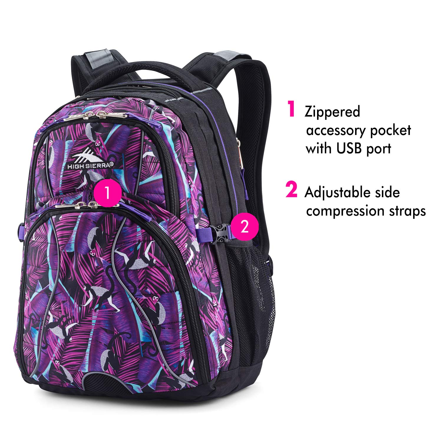 High Sierra Swerve Laptop Backpack, 17-inch Laptop Backpack for High School or College, Ideal Gaming Laptop Backpack, Large Compartment Student Laptop Backpack with Organizer Pocket by High Sierra (Image #4)