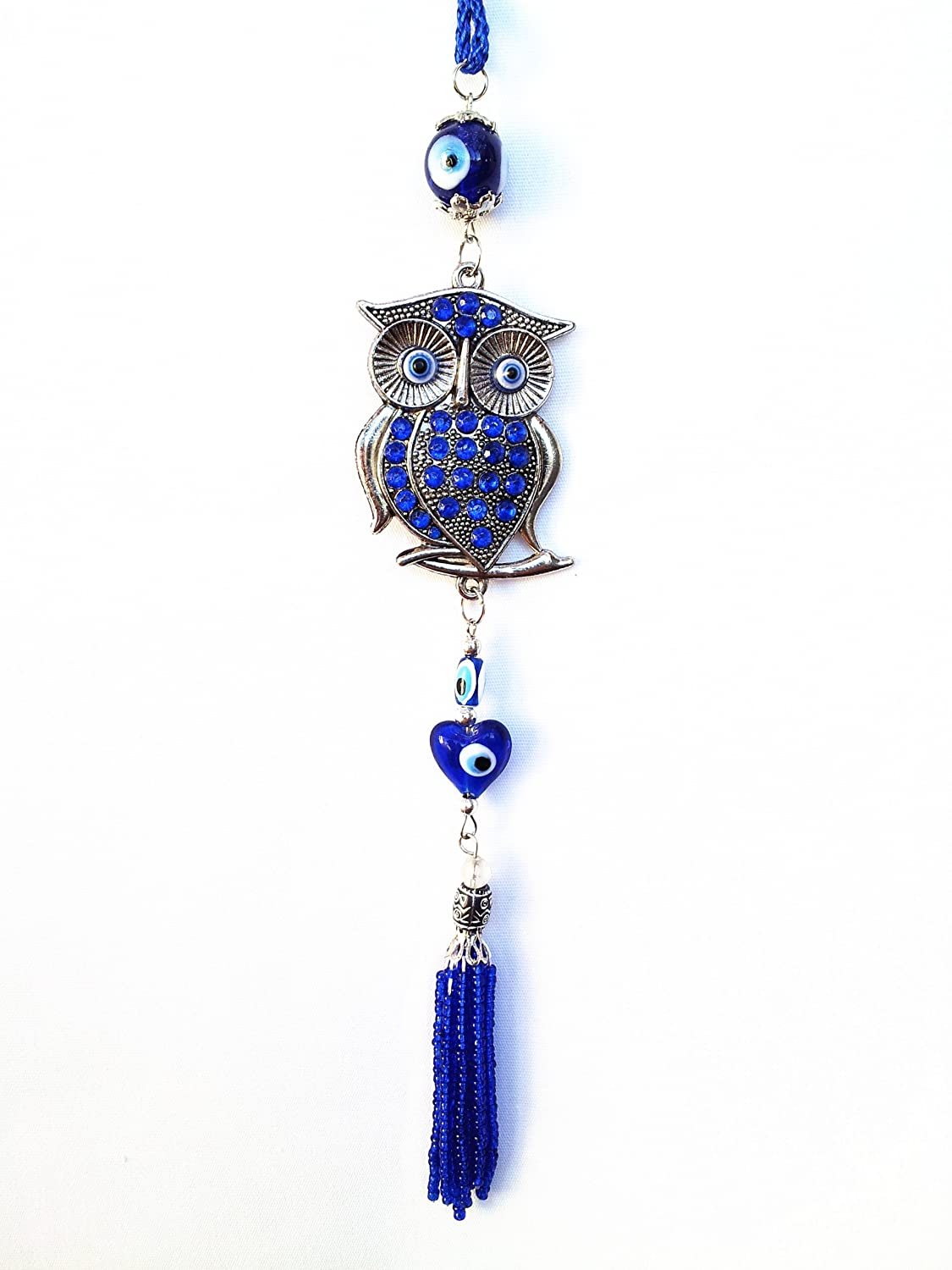 -25 BDEEH-02 Blue Evil Eye Decor Charm Hanging with Owl for Protection with a Betterdecor Pouch
