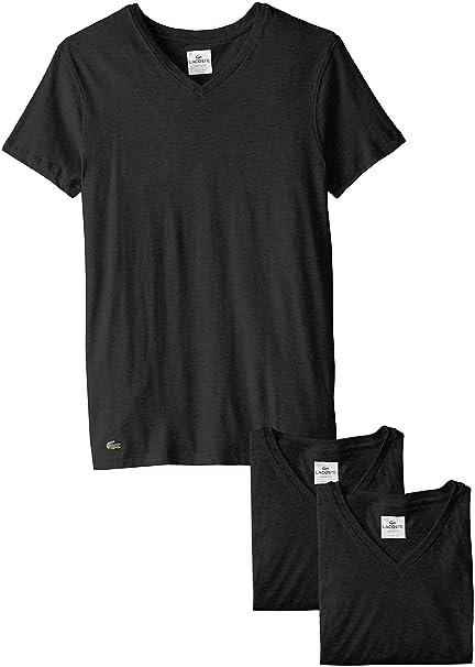 dc8dfdd7b Lacoste Men's 3-Pack Essentials Cotton V-Neck T-Shirt: Amazon.ca ...