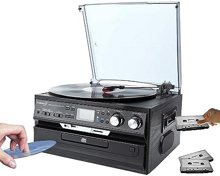 Hyundai Retro Cadena Musical Nostalgie Diseño ANL equipo estéreo compacto Estimada Center Función de grabación Tocadiscos CD/MP3 USB/SD Radio FM/AM ...