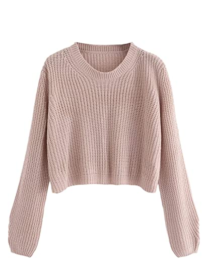 6f75c3aa23 SweatyRocks Women s Casual Loose Solid Long Sleeve Knit Crop Top Sweater at Amazon  Women s Clothing store