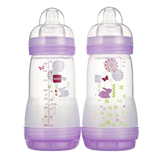 MAM Easy Start Anti-Colic Bottle 9 oz (2-Count), Baby Essentials, Medium Flow Bottles with Silicone Nipple, Baby Bottles for Baby Girl, Pink