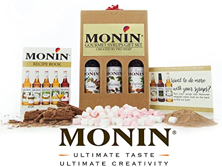 Monin Premium Coffee Syrups Luxury Gift Set - Includes Caramel, Hazelnut & Gingerbread - Recipe