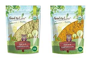 Organic Indian Spices Bundle - Organic Fenugreek Powder, 2 Pounds and Organic Turmeric Powder, 2 Pounds - Non-GMO, Kosher, Raw, Vegan