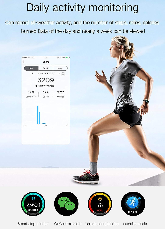 ASDSDF Montre Intelligente, traqueur d'activité, Montre étanche Bluetooth pour la Pression artérielle de la fréquence Cardiaque, Plusieurs Fonctions-Black black
