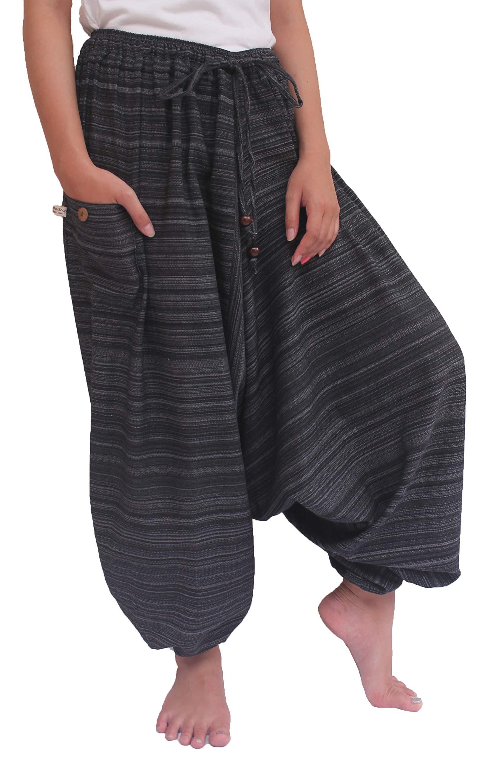 Wynnthaishop'100% Cotton Baggy Boho Aladin Yoga Harem Pants (S-XL for Waist for 26'' - 42'', Dark)
