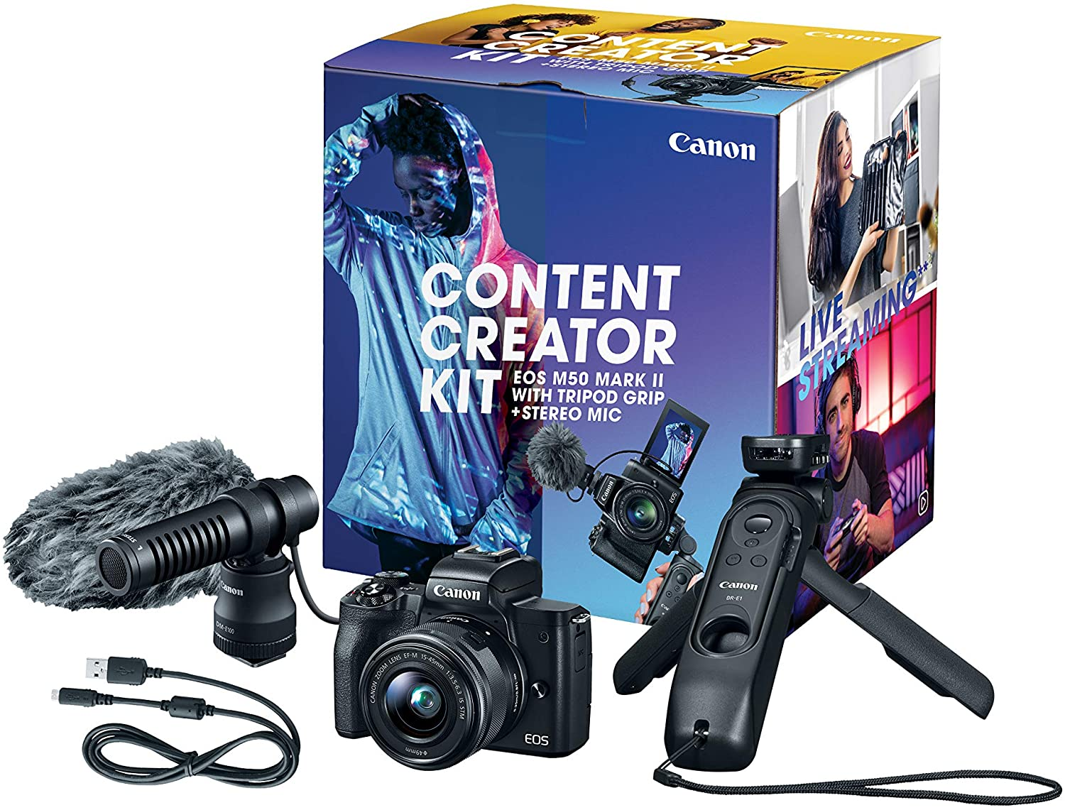 Canon EOS M50 Mark II Content Creator Kit, Mirrorless 4K Vlogging Camera Kit Includes EF-M 15-45mm Lens, Tripod Grip, Stereo Microphone