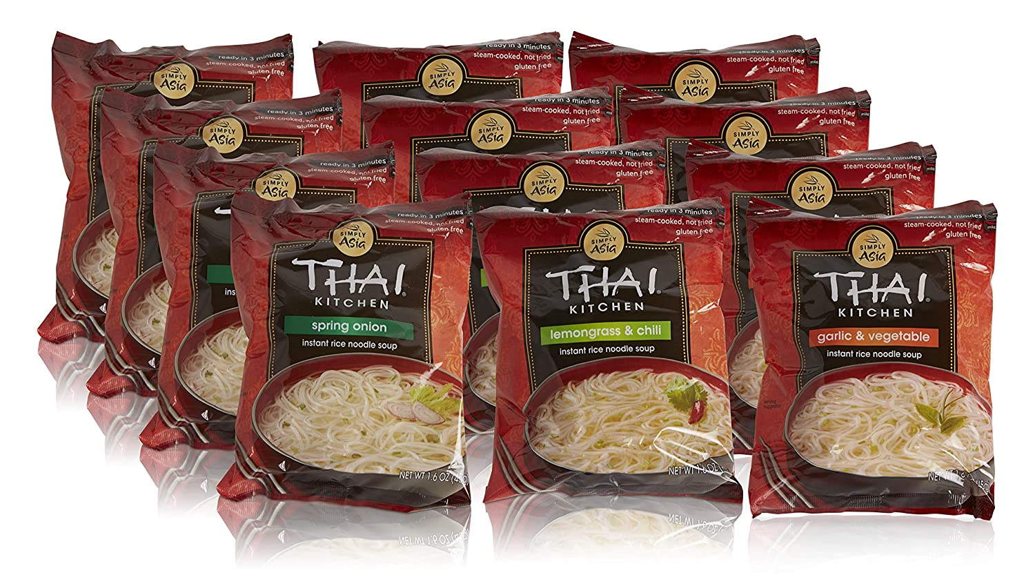 Thai Kitchen Instant Rice Noodle Soup Variety Pack Gluten Free Ramen Ready In 3 Minutes 1 6oz Pack Of 12