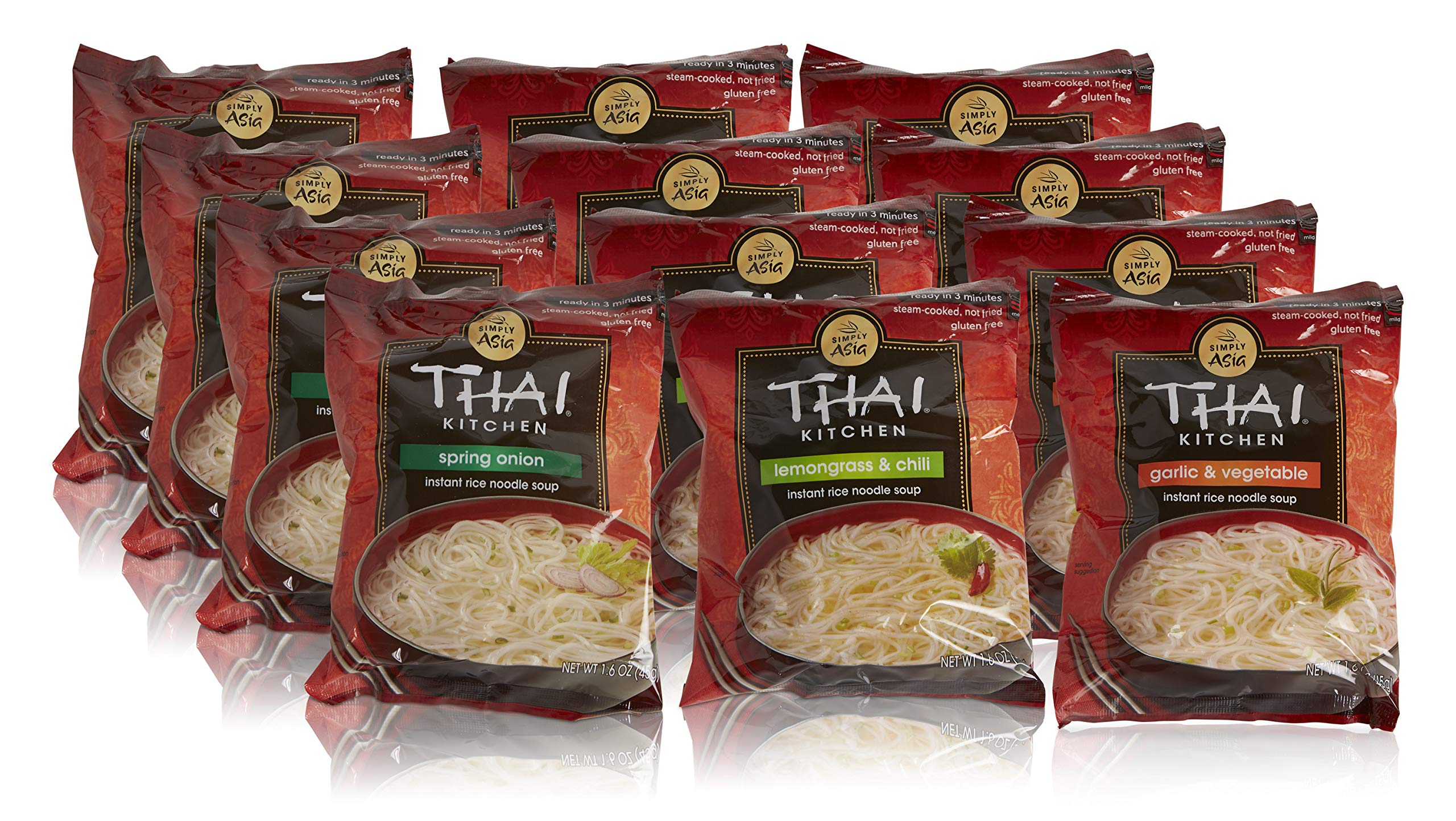 Thai Kitchen Instant Rice Noodle Soup Variety Pack, Gluten Free Ramen, Ready in 3 Minutes, 1.6oz (Pack of 12) by Thai Kitchen