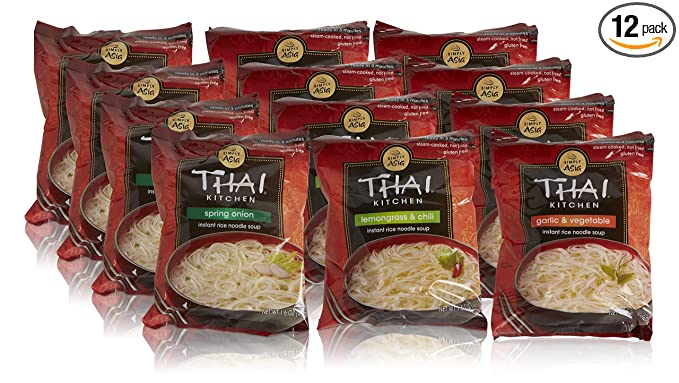 Thai Kitchen Instant Rice Noodle Soup Variety Pack Gluten Free Ramen Ready in 3 Minutes 1.6oz, Thai, 19.2 Ounce, (Pack of 12)