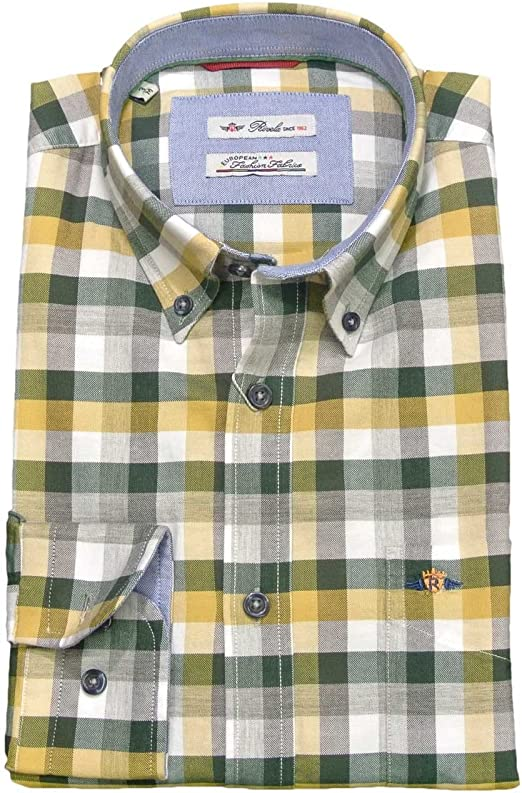 Rivela - Rivela - Camisa Cuadro Amarillo - (6) (XXL) (46) (18 1/2): Amazon.es: Ropa y accesorios