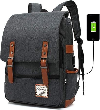 Men Fashion Backpack Faux Leather Travel Rucksack Laptop School College Bag