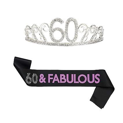 Amazon.com: B4MBOO - Tiara de 60 cumpleaños y cinta para ...