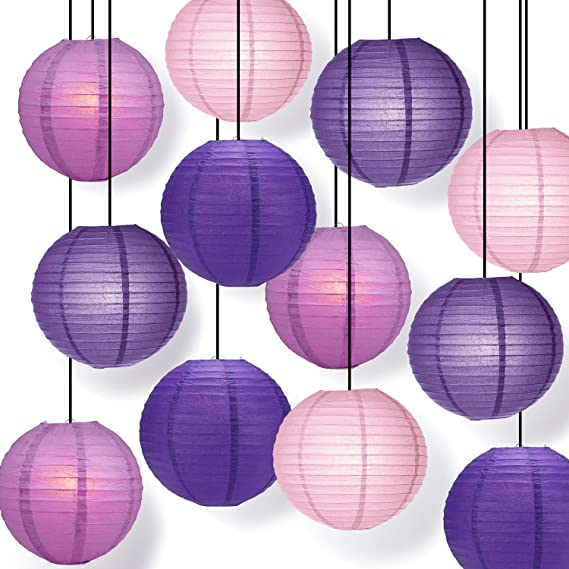 12Pcs Royal Purple Paper Lantern Set Reusable Hanging Decor,Easy Assembly,for Birthday Wedding Baby Shower  Party Decor Supplies Kit