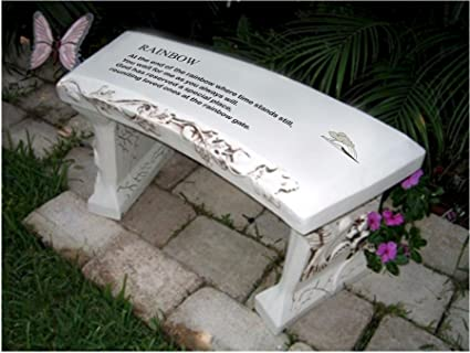 Hand Crafted U0027Rainbow Bridgeu0027 Cast Stone Garden Bench By Southwest Graphix    Personalization Available