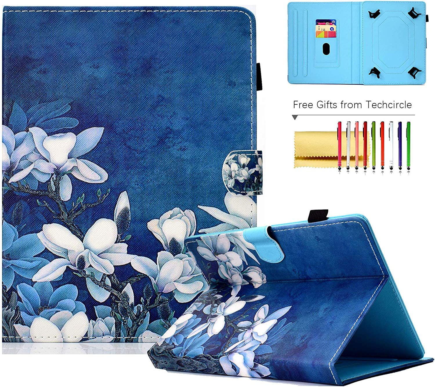 10-inch Tablet Case, Techcircle Pretty Folio Stand Cover w/ [Pencil Holder] [Card Slots] Magnetic Protective Case for Samsung Galaxy Tab 9.7/10.1/10.5
