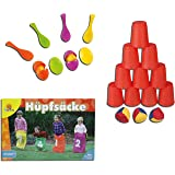 Idena 40416 Ballwurfspiel mit 10 Bechern und 3 Bällen (3 Spiele Kinderparty-Set)
