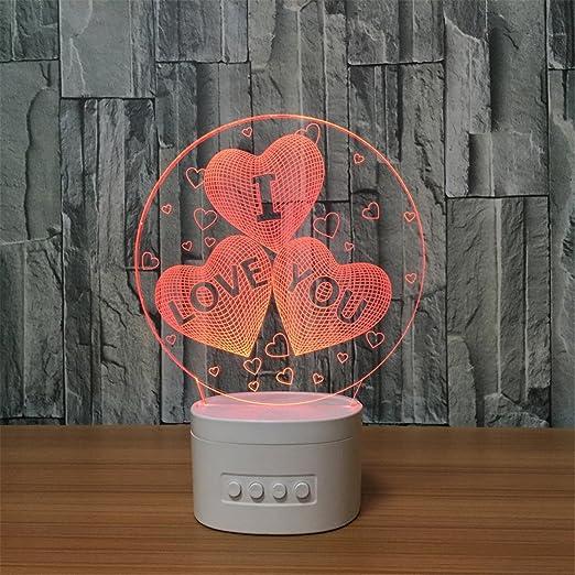Único alimentado por USB Te Amo Corazón 3D ILLusion Altavoz ...