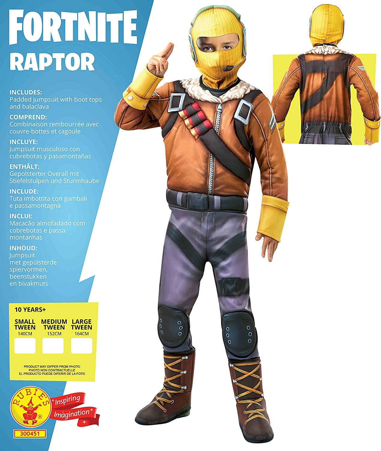 Rubies´s- Official Fortnite Raptor Costume Disfraz, Multicolor ...
