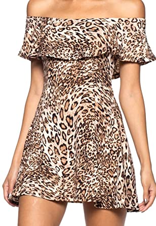 64cf1b2d9f28 Simply Savvy Co USA Flared Off Shoulder Leopard Cheetah Animal Print Gown  Dresses Women (S