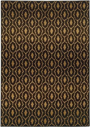 Moretti Relic Area Rug 5845B Black Diamonds Swirls 9 10 x 12 10 Rectangle