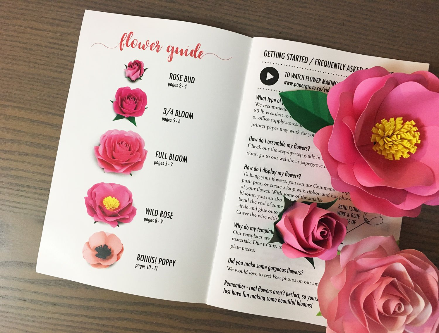 Paper Rose Template 1 8 4 Styles Of Rose And Poppy Leaf