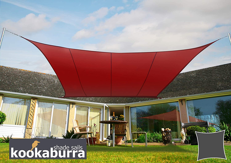 Kookaburra Waterproof Sun Sail Shade Wine Burgundy – 17ft 9 Square