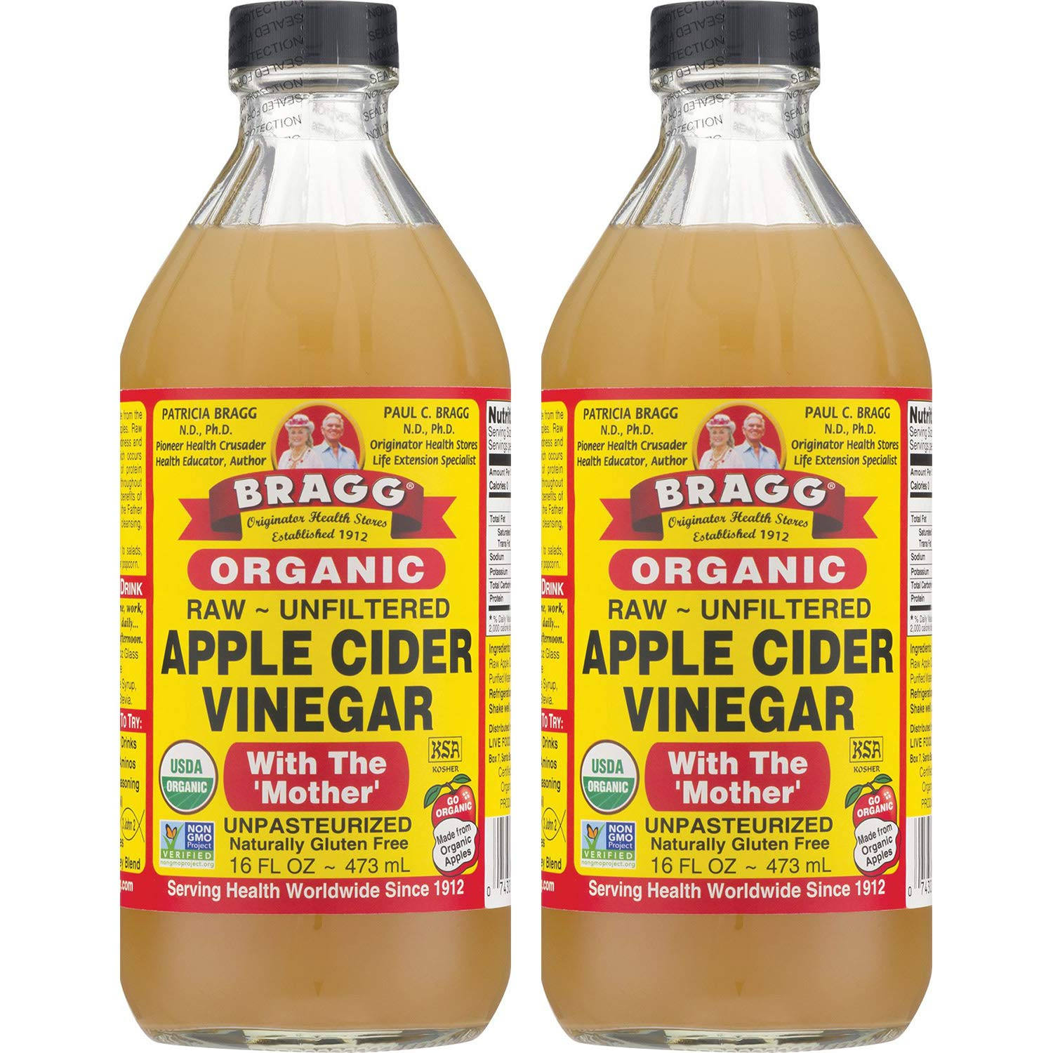 Amazon Com Bragg Organic Apple Cider Vinegar With The Mother Usda Certified Organic Raw Unfiltered All Natural Ingredients 16 Ounce 2 Pack Grocery Gourmet Food