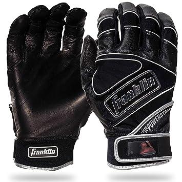 Adult Medium Black Franklin Sports 20490F2 Chrome Powerstrap Batting Gloves