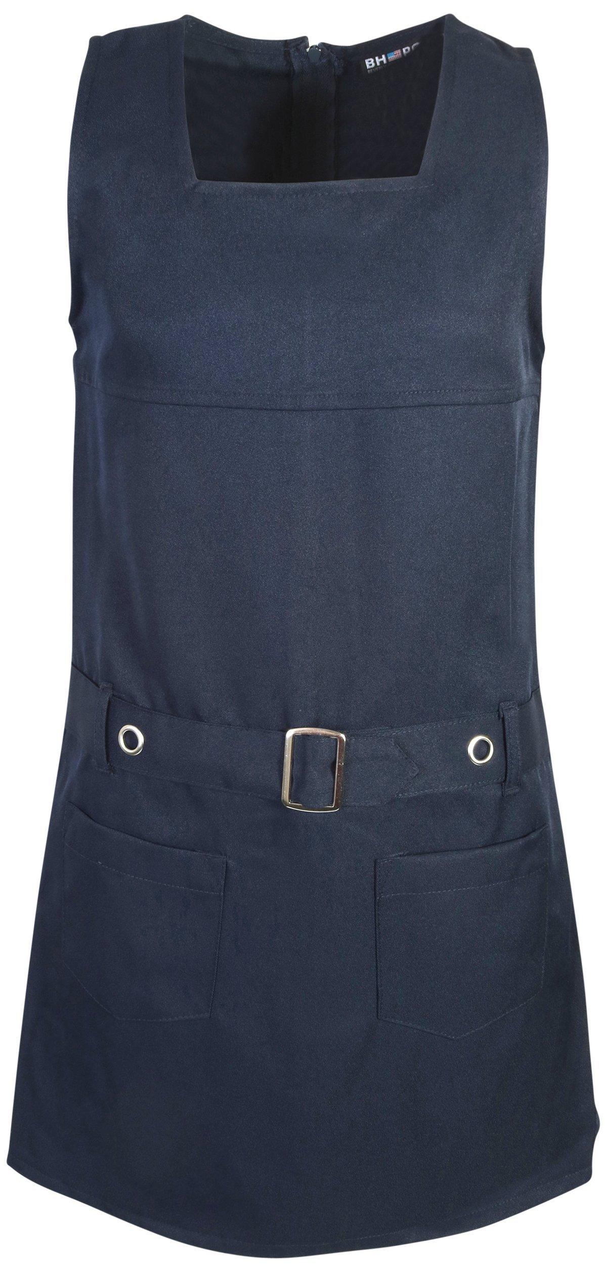Beverly Hills Polo Club Girls School Uniform Belted Twill Jumper, Navy, Size 7'