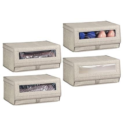 mDesign Juego de 4 cajas para zapatos de fibra sintética (grandes) – Cajas apilables