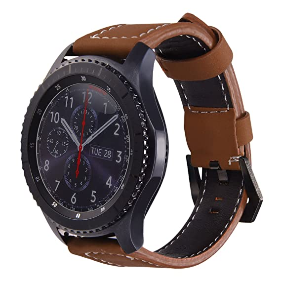 Bandmax Compatible Samsung Gear S3/ Frontier Classic Bands Genuine Leather,22MM Gear S3 Sport Band Strap Smartwatch Replacement Wristband Accessories ...