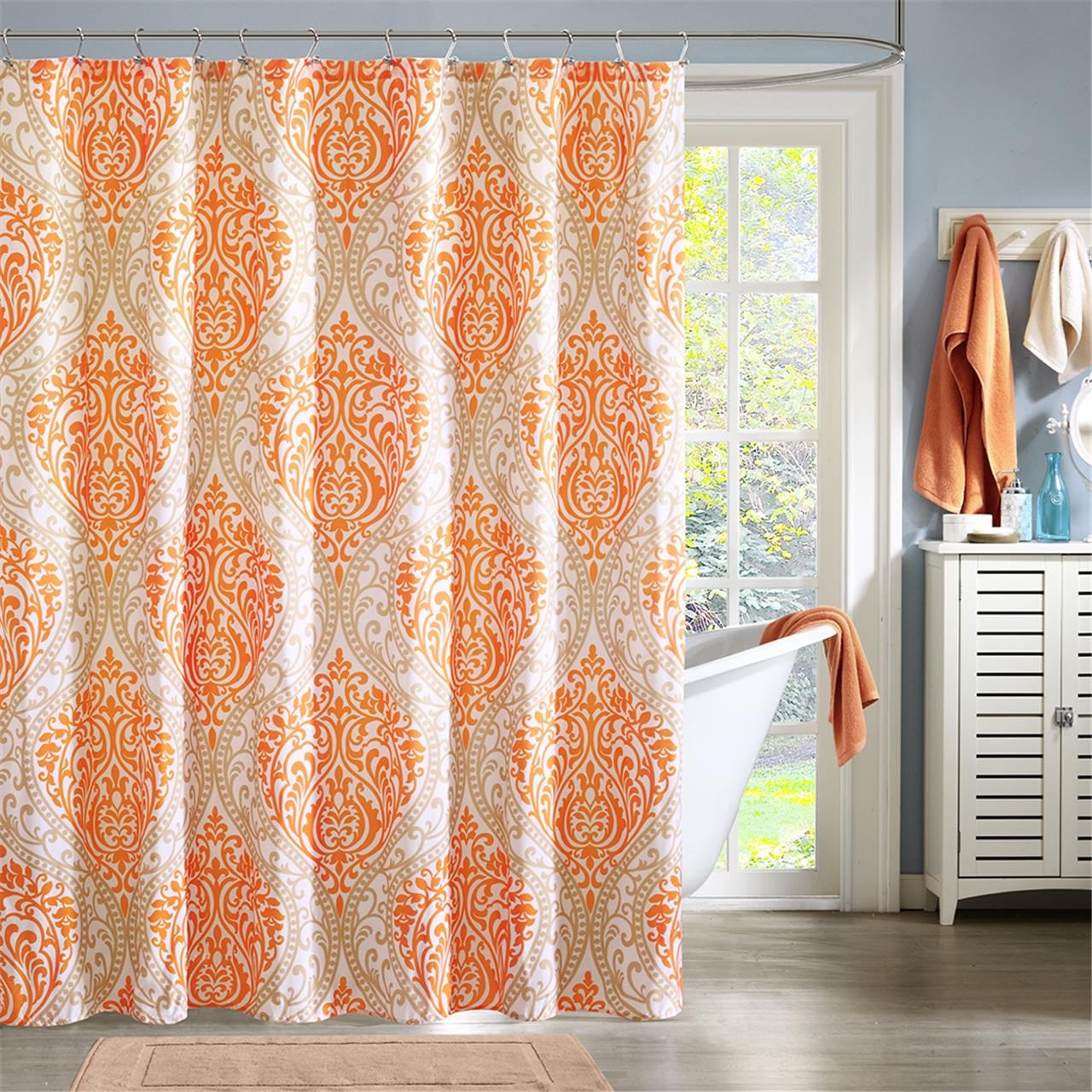 orange floral shower curtain. Amazon Com  Intelligent Design ID70 220 Senna Shower Curtain 72 X Orange Home Kitchen