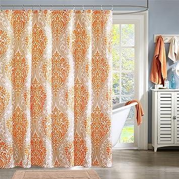 Intelligent Design ID70 220 Senna Shower Curtain, 72 X 72u0026quot;, Orange  Orange Shower Curtain