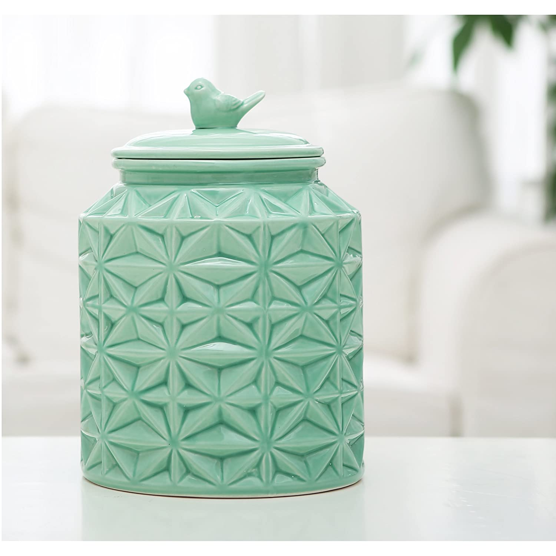 amazon com turquoise vintage ceramic kitchen flour canister