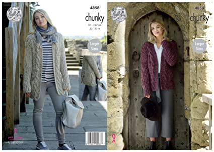 48666a686 King Cole Ladies Chunky Knitting Pattern Womens Cable Knit Jacket   Cardigan  (4858)