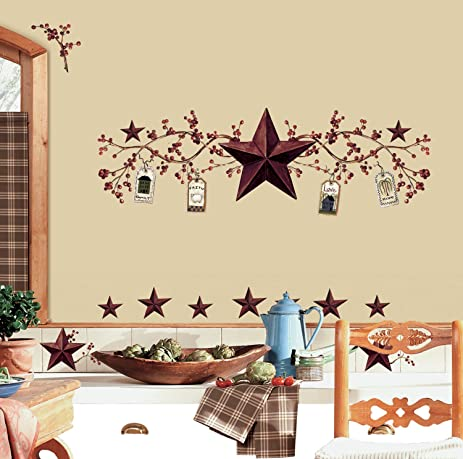 Country stars berries wall decals