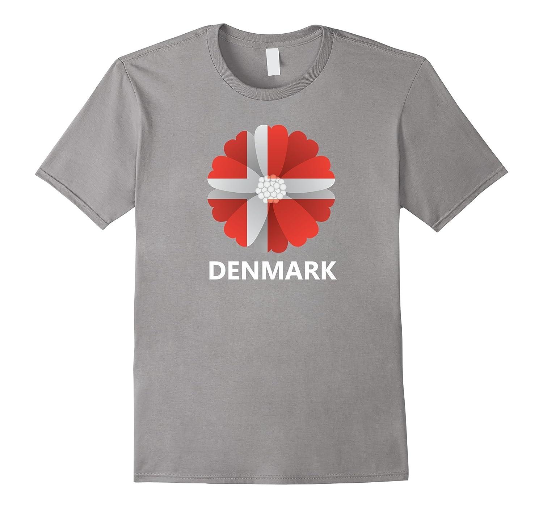 Teemaster Denmark Flag Flower T Shirt Pl Polozatee