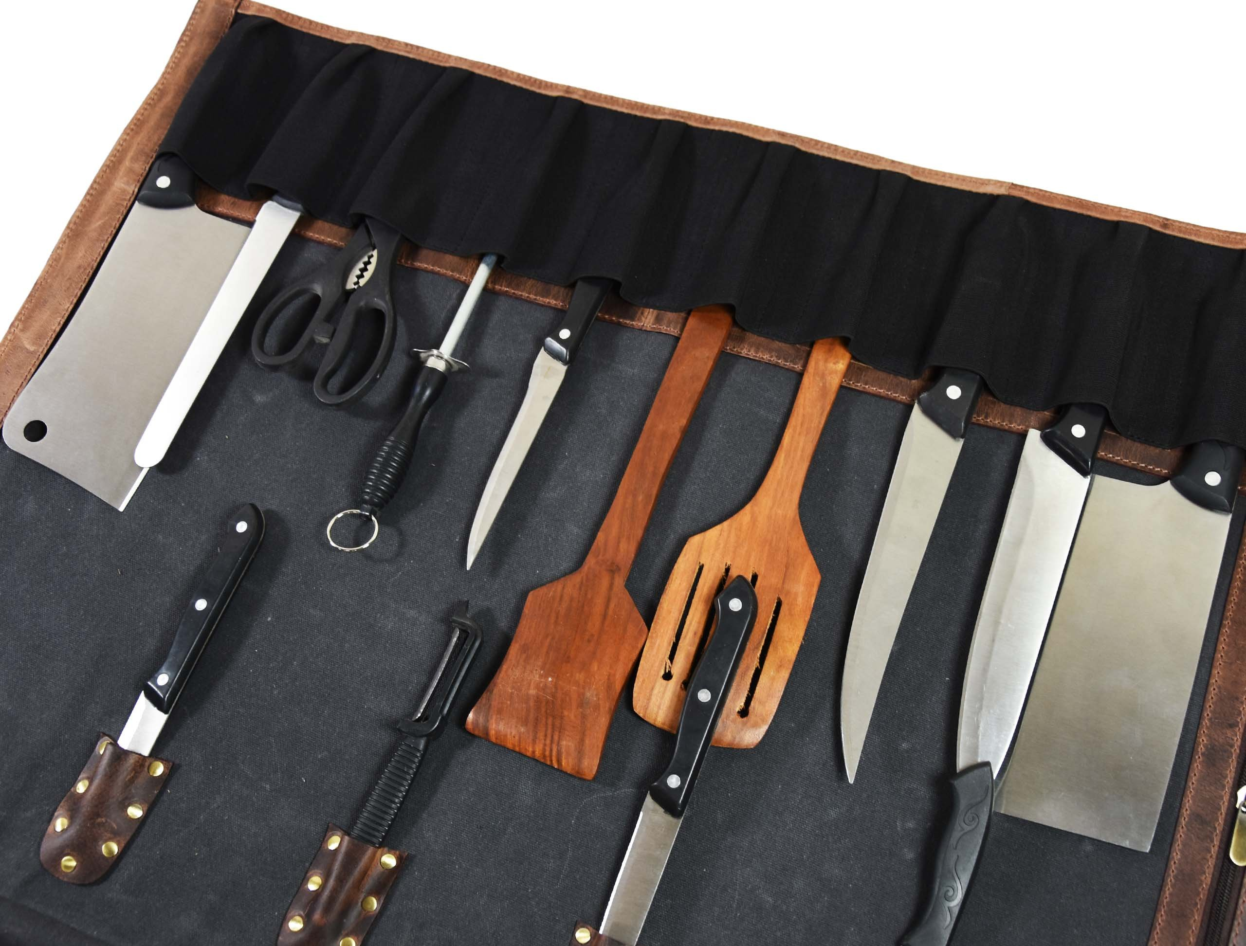 Leather Knife Roll Chef Roll Storage Bag Aaron Leather (Fossil Grey) by Aaron Leather (Image #4)