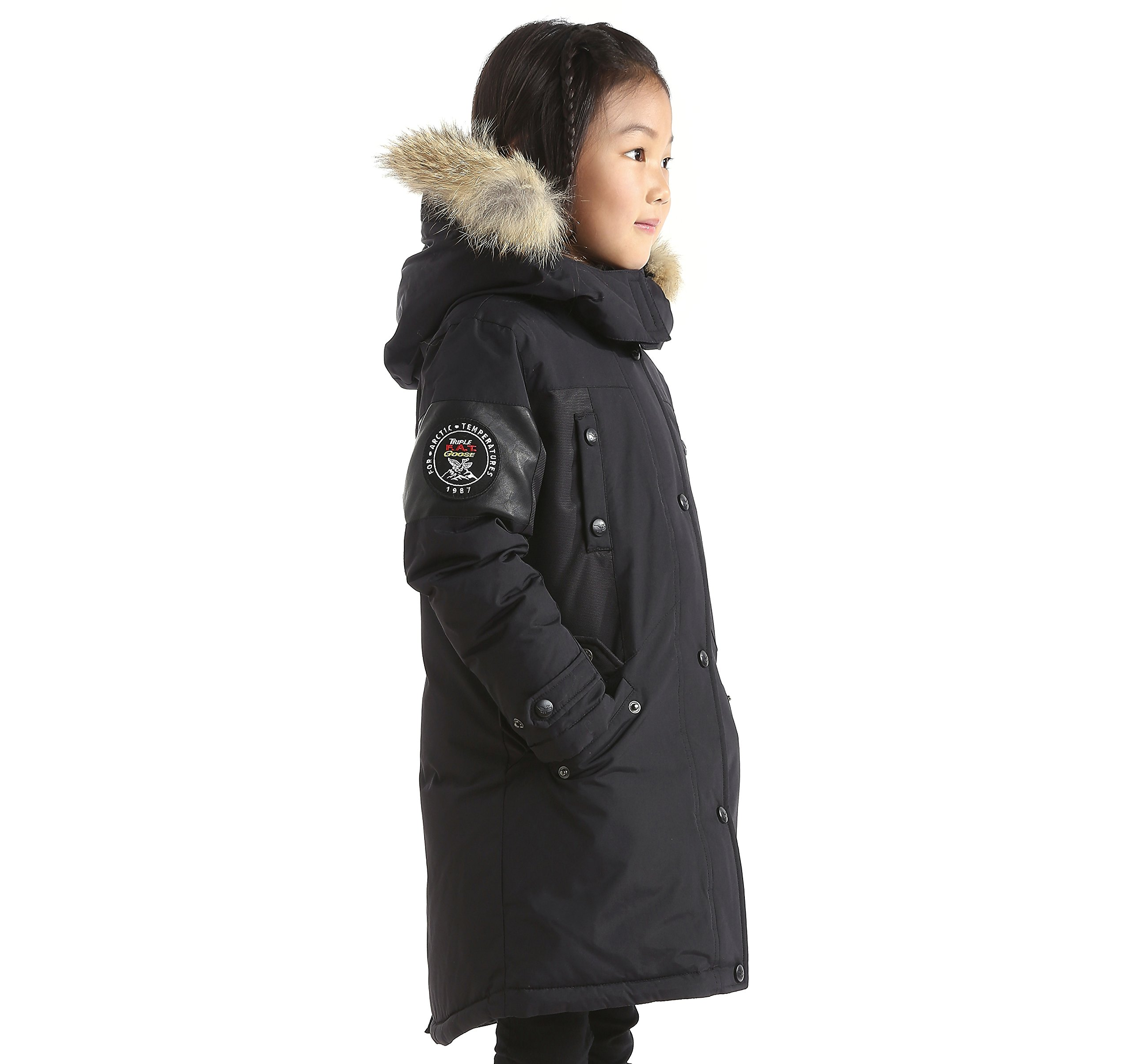 Triple F.A.T. Goose Embree Girls Down Jacket Parka with Real Coyote Fur (10, Black) by Triple F.A.T. Goose (Image #4)
