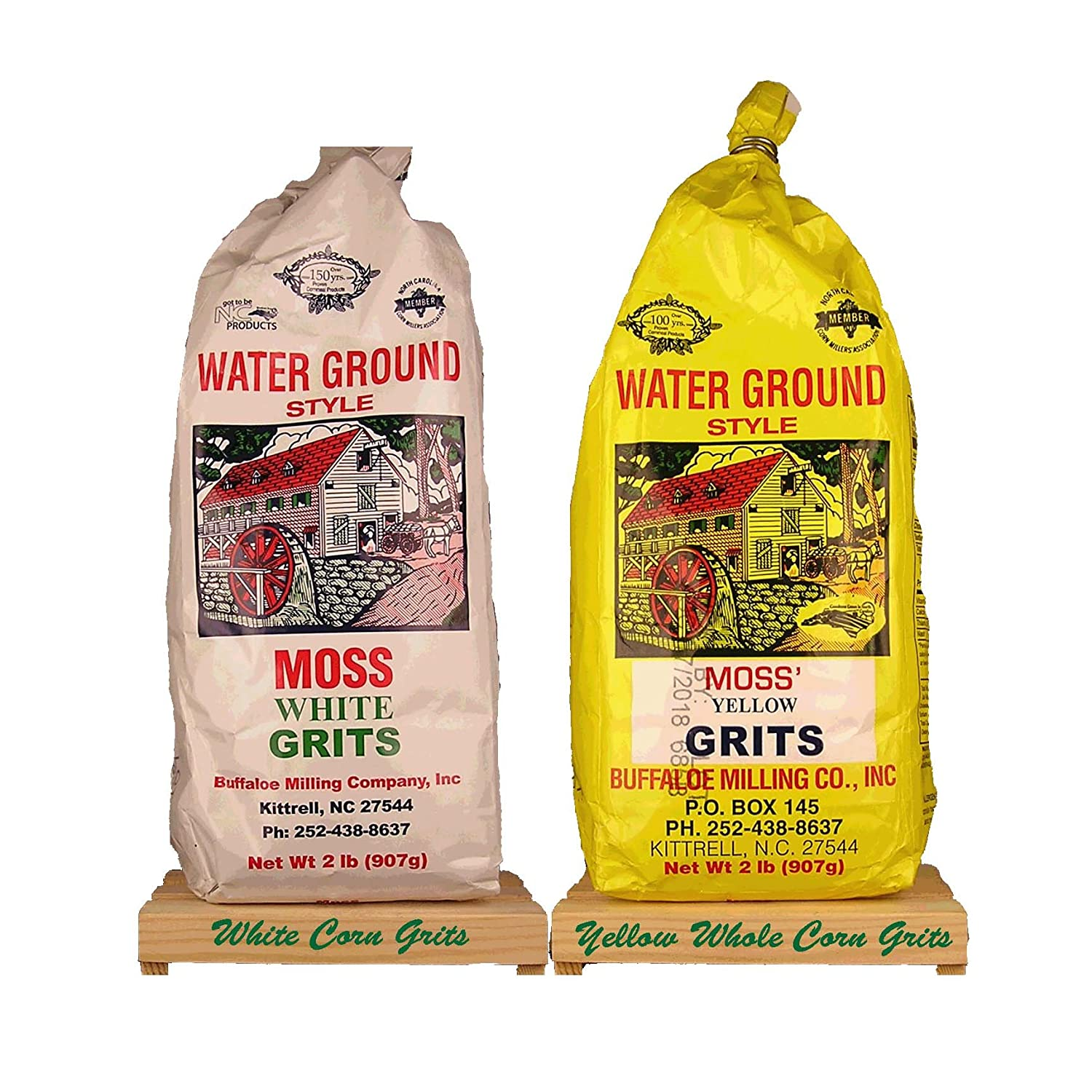 Moss Water Ground White and Yellow Whole Corn Grits each Bag is 2 Lbs