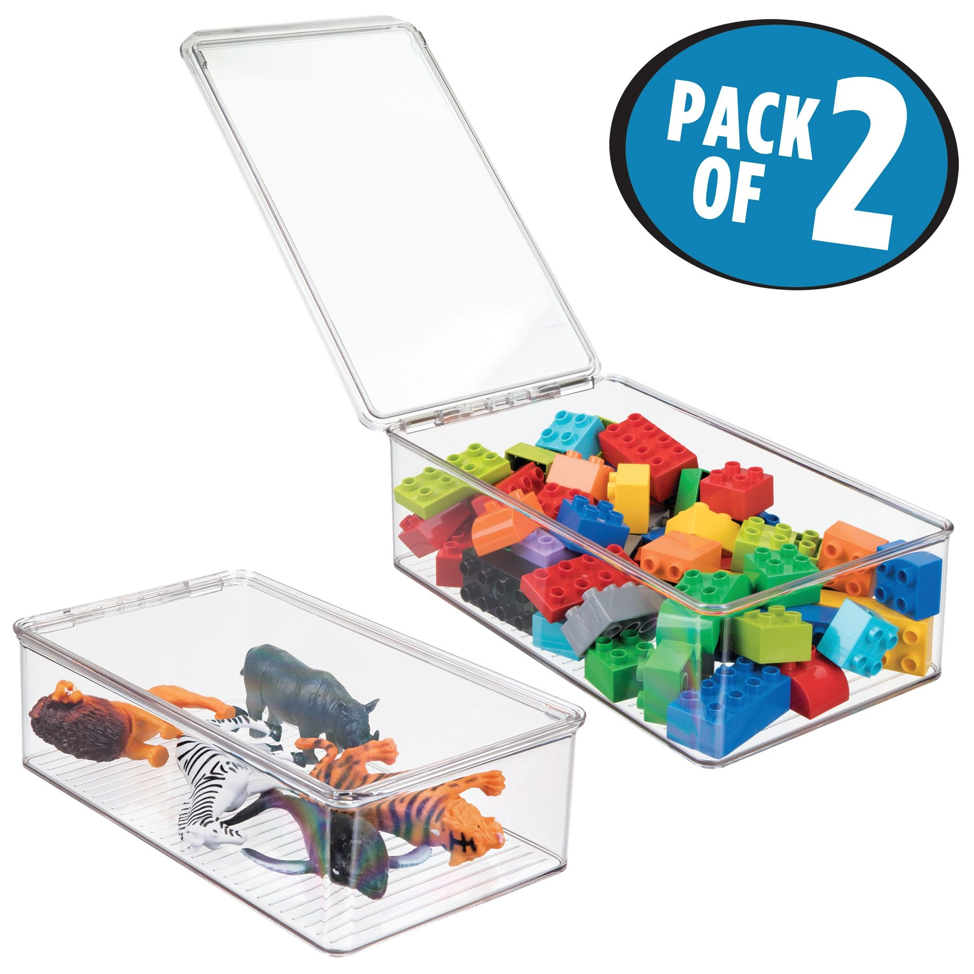 mDesign Kids Toy Storage Box with Hinged Lid for Action Figures, Cars, Crayons, Puzzles - Pack of 2, Clear