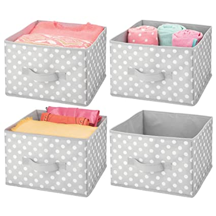 mDesign Juego de 4 cajas de almacenaje para ropa o juguetes – Cestas organizadoras con asa
