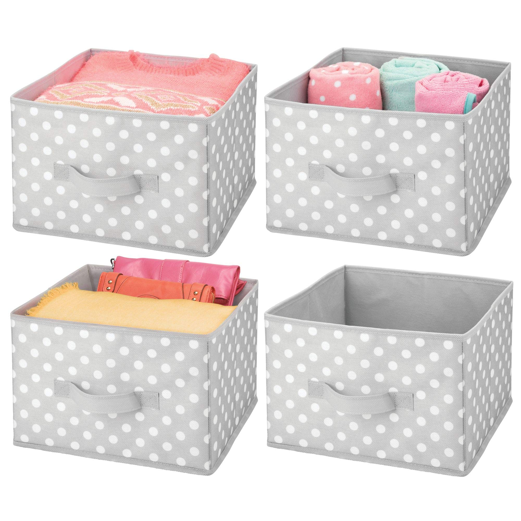 mDesign Soft Fabric Closet Storage Organizer Holder Box Bin - Attached Handle, Open Top, for Child/Kids Bedroom, Nursery, Toy Room - Fun Polka Dot Pattern - Medium, Pack of 4, Gray with White Dots