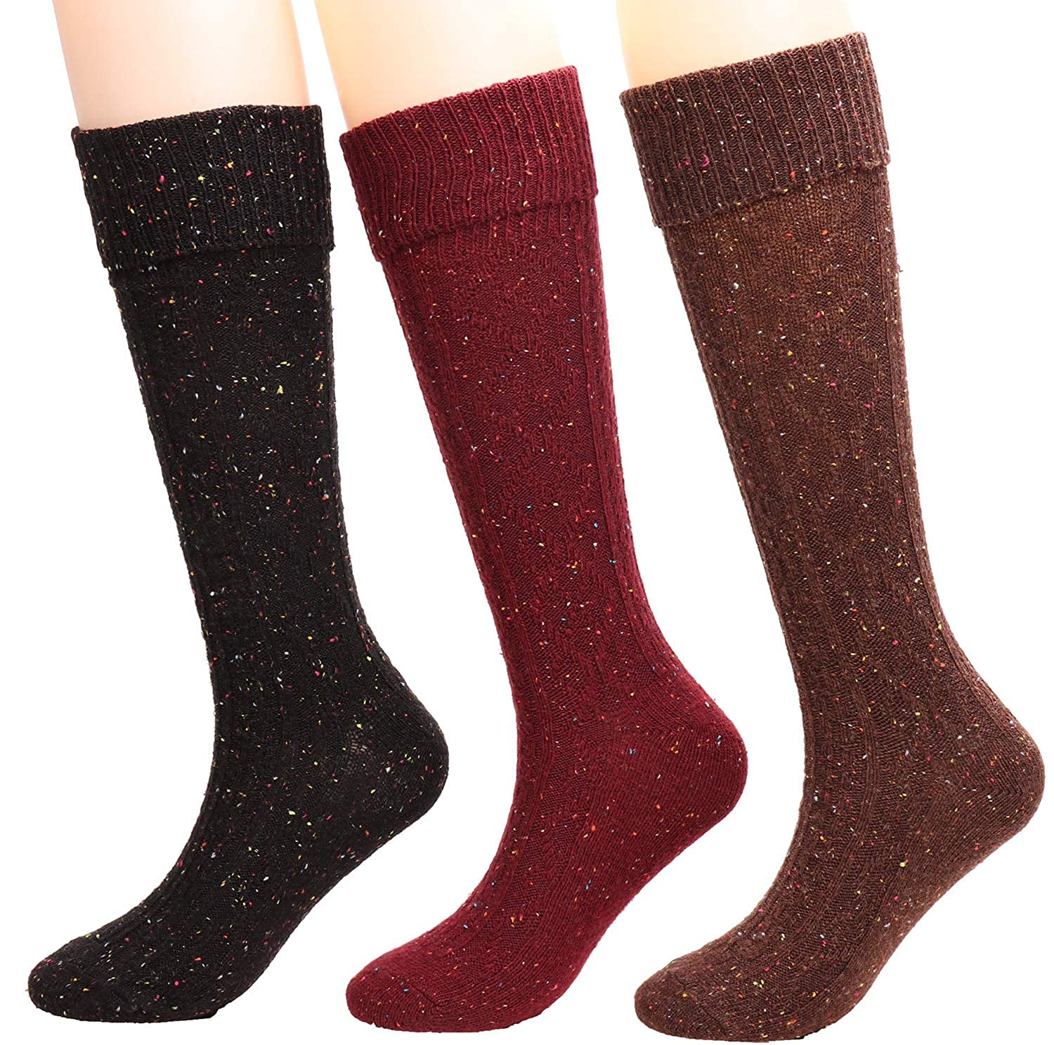 875b86e733dad 3 Pairs Womens Fall Winter Knee High Sock Wool Knit Mid Calf Boot Socks W80  (red+black+coffee) at Amazon Women's Clothing store: