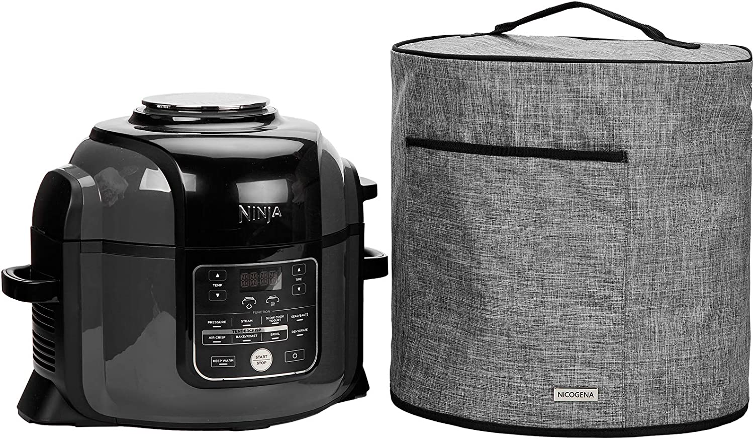 NICOGENA Pressure Cooker Dust Cover Compatible with Ninja Foodi 6.5 Quart And 8 Quart Pressure Cooker, Front Pocket for Accessories and Aluminum Film Lining for Easy Cleaning, Grey