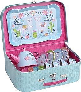 Jewelkeeper 15 Piece Kids Pretend Toy Tin Tea Set & Carry Case - Llama Design